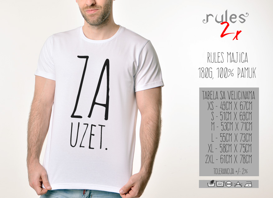 Muska Rules Majica sa natpisom - Zauzet - Tabela velicina