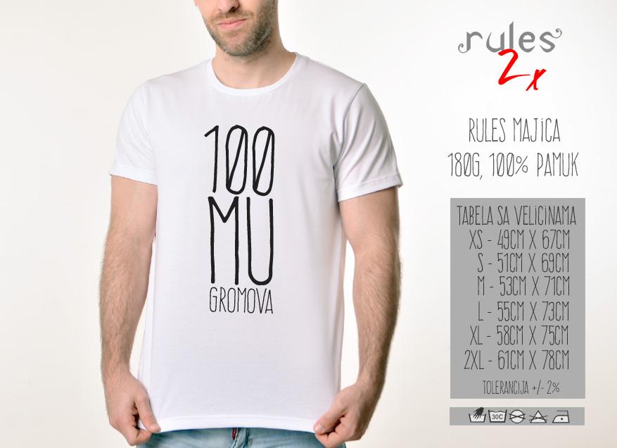 Muska Rules majica sa natpisom 100 Mu Gromova - Tabela proizvoda