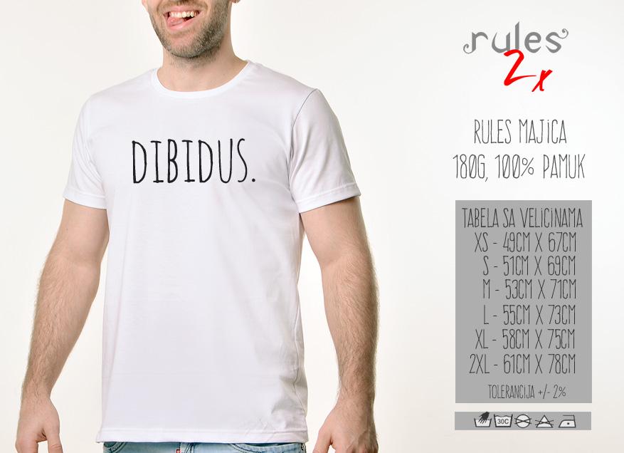 Muska Rules majica sa natpisom Dibidus - Tabela velicina