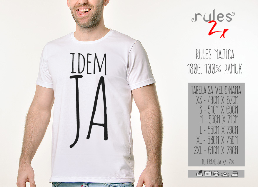 Muska Rules majica sa natpisom - Idem Ja - Tabela velicina