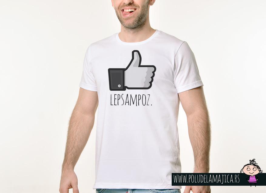 Muska Rules majica sa natpisom Lep Sam Poz - poludelamajica