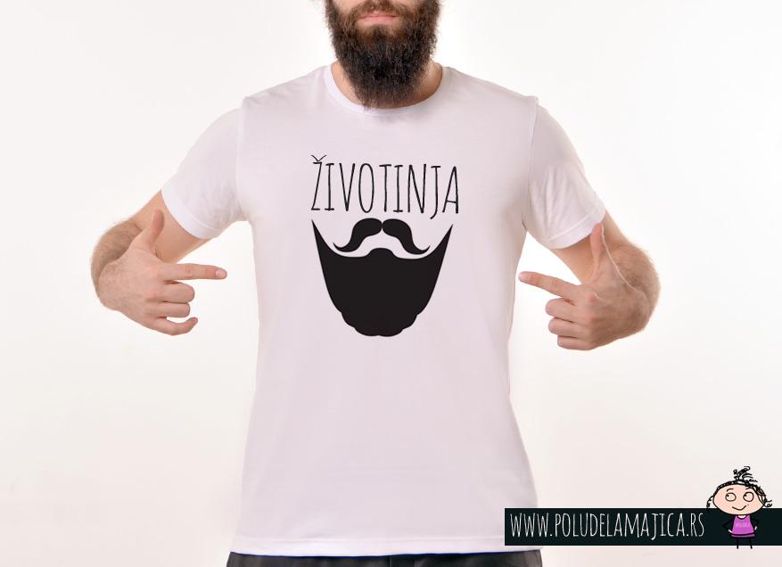 Rules muska majica sa natpisom Zivotinja - poludelamajica