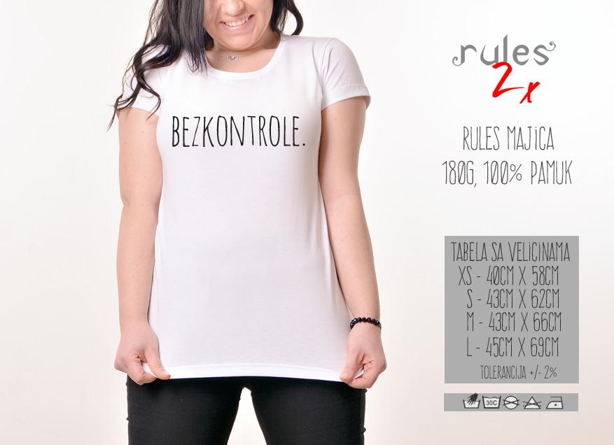 Zenska Rules majica sa natpisom Bez kontrole - Tabela velicina