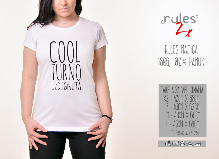 Zenska Rules majica sa natpisom Coolturno uzdignuta - Tabela velicina