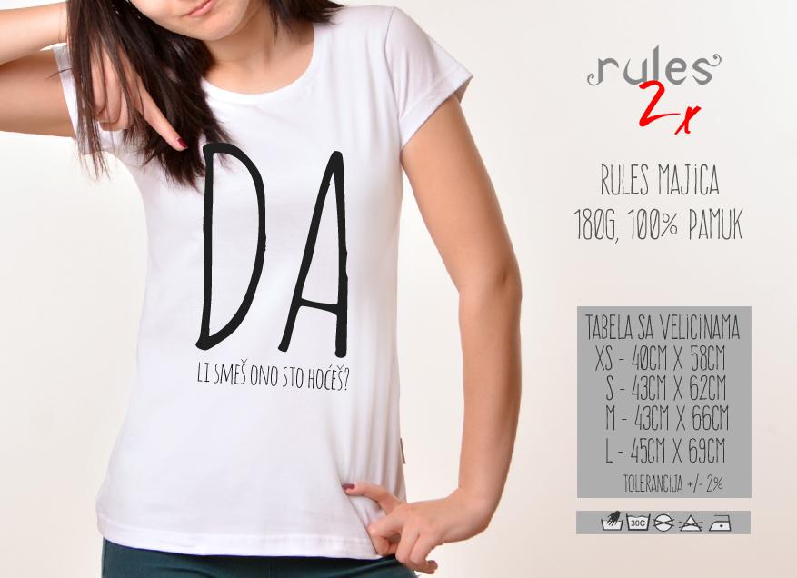 Zenska Rules majica sa natpisom Da li smes ono sto hoces - Tabela velicina