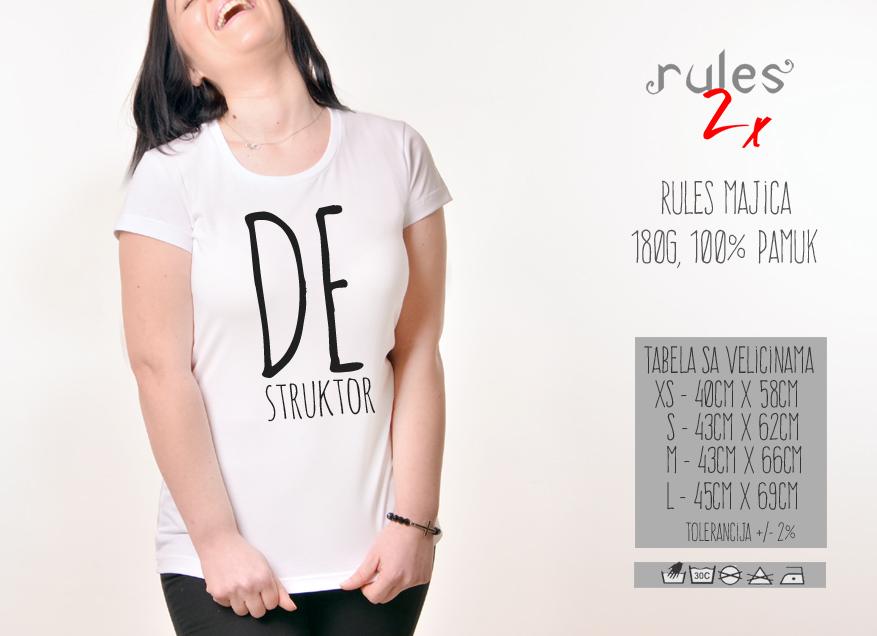 Zenska Rules majica sa natpisom Destruktor - Tabela velicina