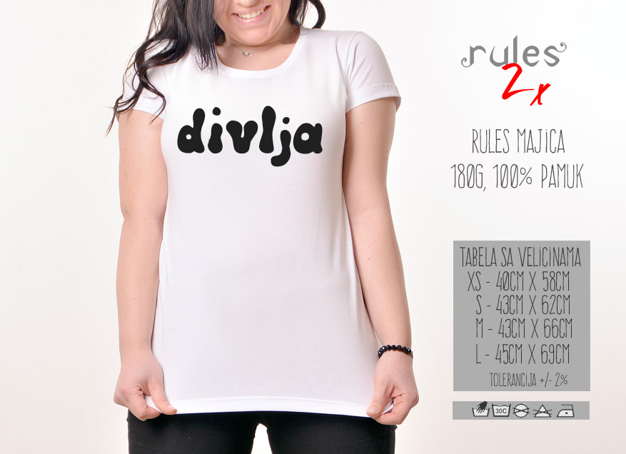 Zenska Rules majica sa natpisom Divlja - Tabela velicina