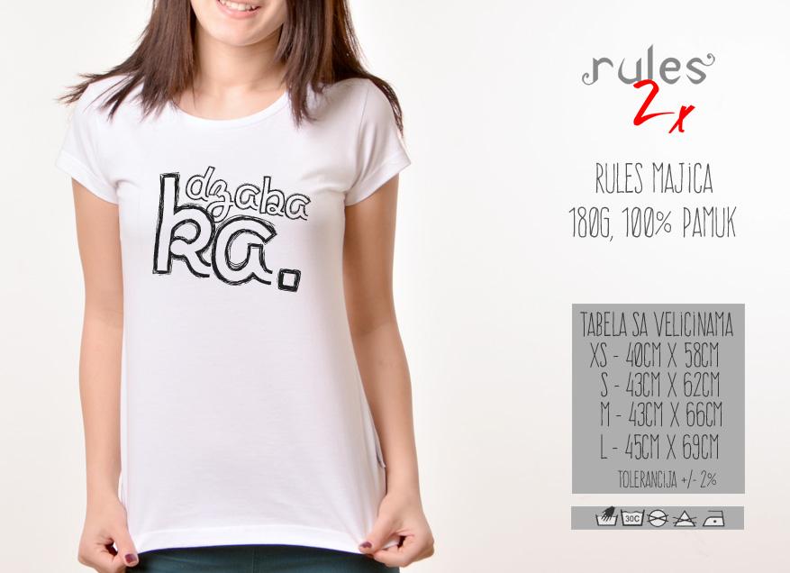 Zenska Rules majica sa natpisom Dzabaka - Tabela velicina