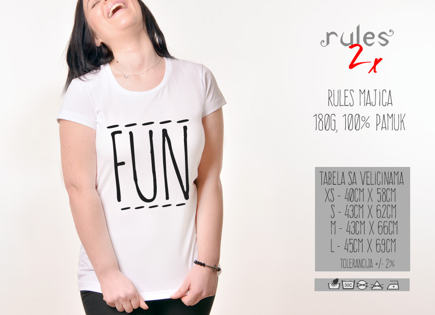 Zenska Rules majica sa natpisom Fun - Tabela velicina