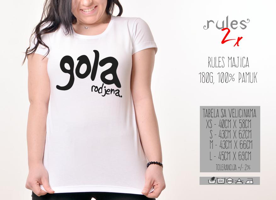 Zenska Rules majica sa natpisom Gola Rodjena - Tabela velicina