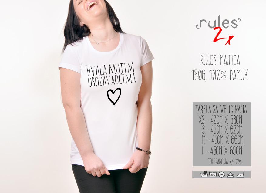 Zenska Rules majica sa natpisom Hvala Mojim Obozavaocima - Tabela velicina