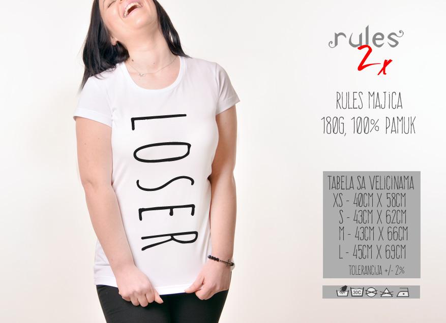 Zenska Rules majica sa natpisom Loser - Tabela velicina