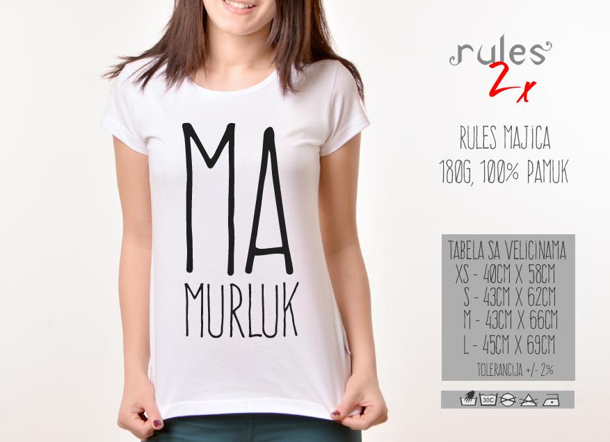 Zenska Rules majica sa natpisom Mamurluk -  Tabela velicina