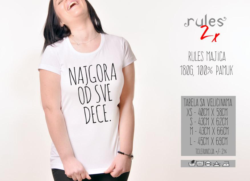 Zenska Rules majica sa natpisom Nagora Od Sve Dece - Tabela velicina