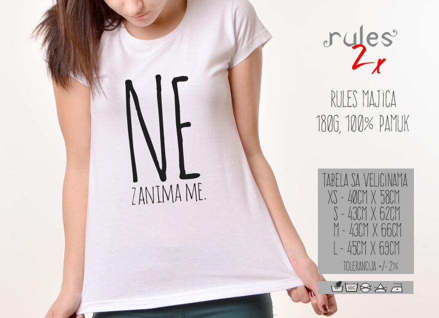 Zenska Rules majica sa natpisom Ne zanima me - Tabela velicina