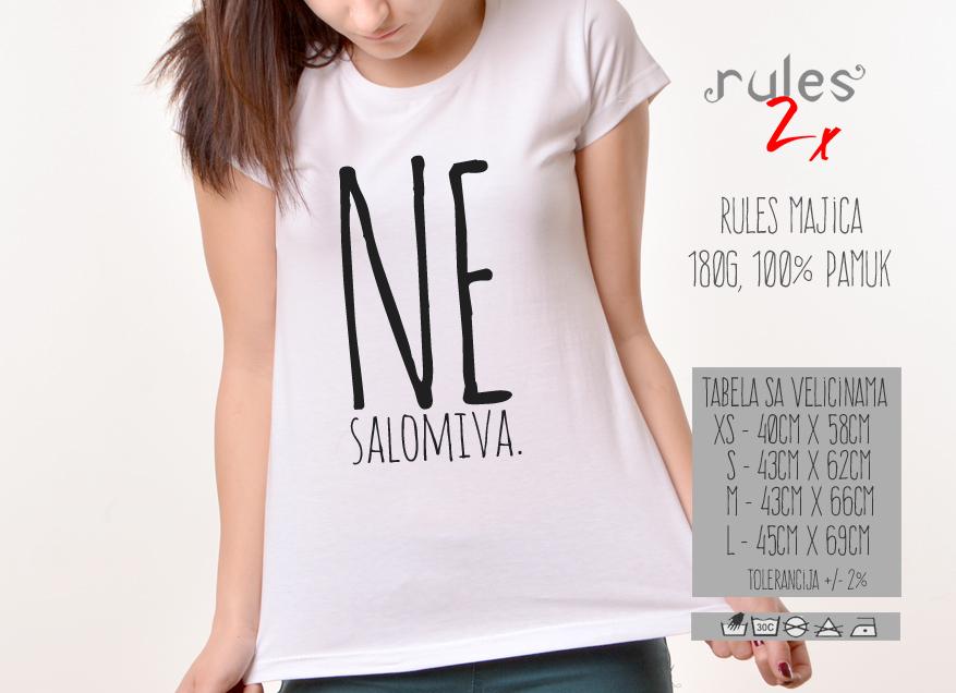 Zenska Rules majica sa natpisom Nesalomiva - Tabela velicina