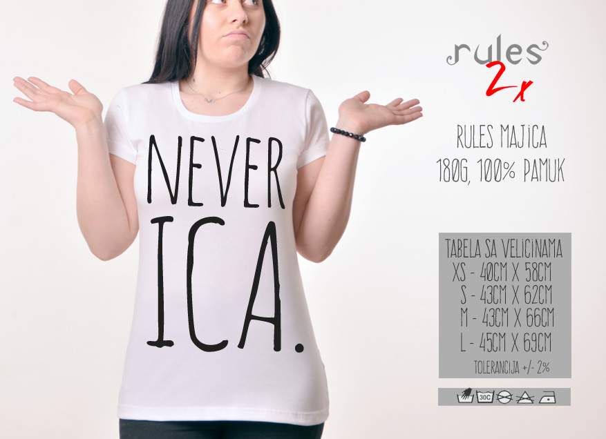 Zenska Rules majica sa natpisom Neverica- Tabela velicina