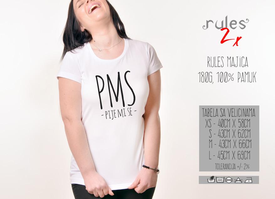 Zenska Rules majica sa natpisom PMS Pije Mi Se - Tabela velicina