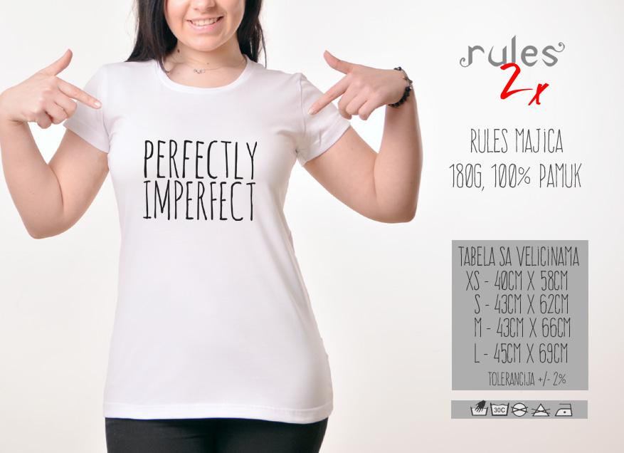 Zenska Rules majica sa natpisom Perfectly Imperfect - Tabela velicina