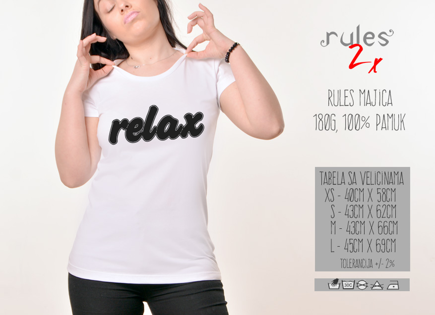 Zenska Rules majica sa natpisom Relax - Tabela velicina