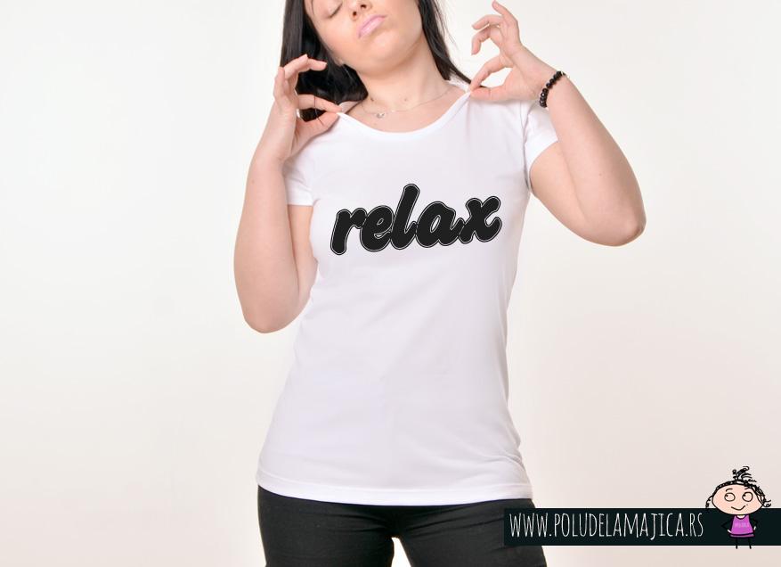 Zenska Rules majica sa natpisom Relax - poludelamajica