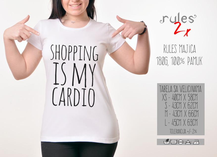 Zenska Rules majica sa natpisom Shopping Is My Cardio - Tabela velicina