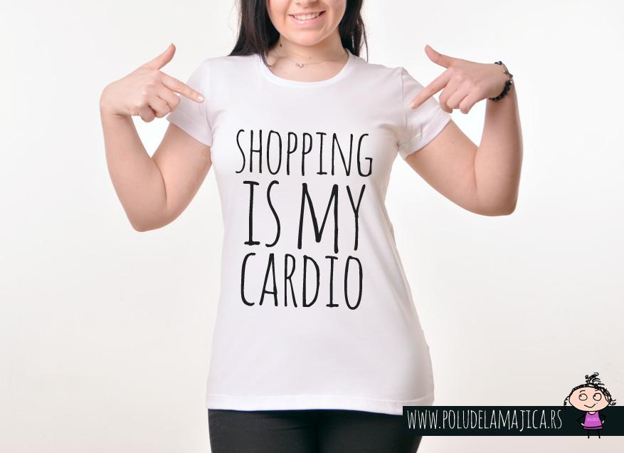 Zenska Rules majica sa natpisom Shopping Is My Cardiol - poludelamajica