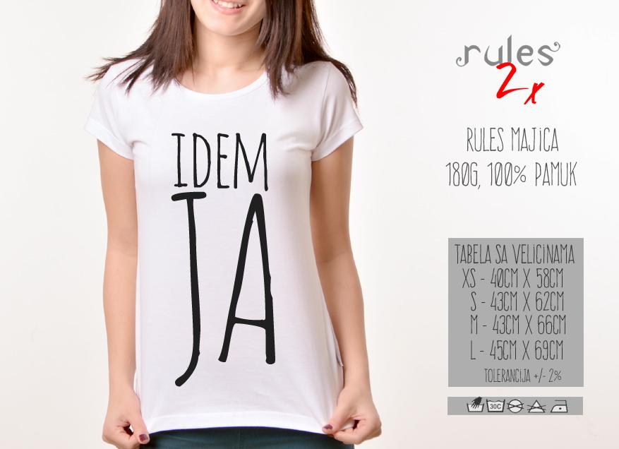 Zenska Rules majica sa natpisom idem ja - Tabela velicina