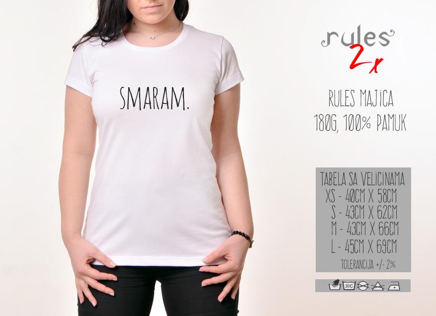 Zenska majica sa natpisom Smaram - Tabela velicina