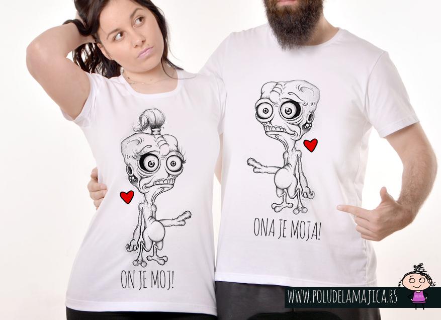 Majice za parove - Poludela majica - On je Moj - Ona je moja