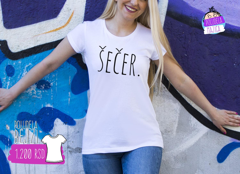 Poludela Majica Bejzi sa natpisom Secer