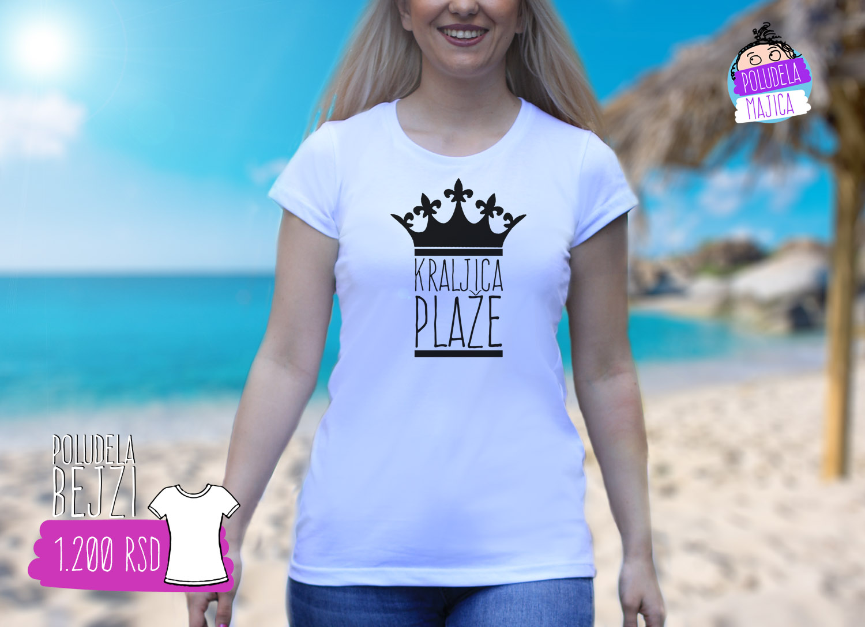 Poludela Majica Bejzi sa natpisom Kraljica Plaze