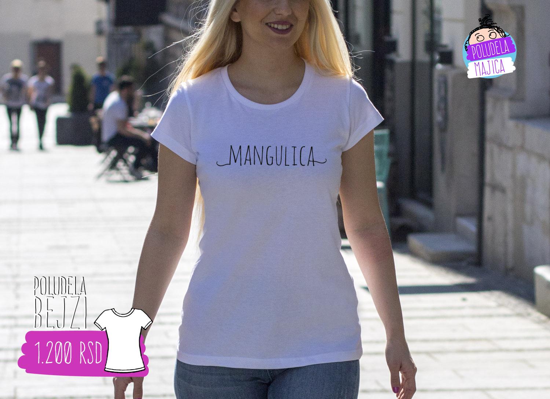 Poludela Majica Zenska Bejzi sa natpisom Mangulica