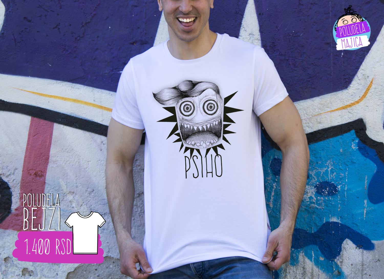 Poludela Majica sa natpisom Psiho